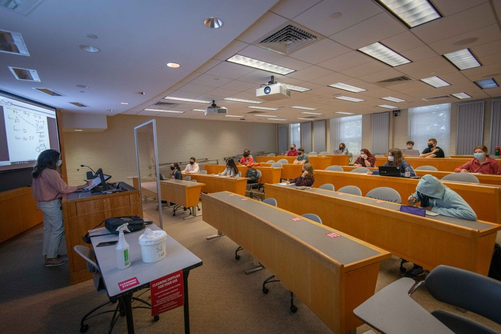 A classroom redesigned for COVID safety