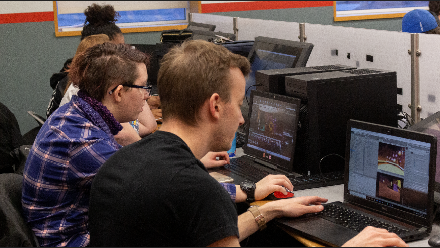 IMGD students working on computers