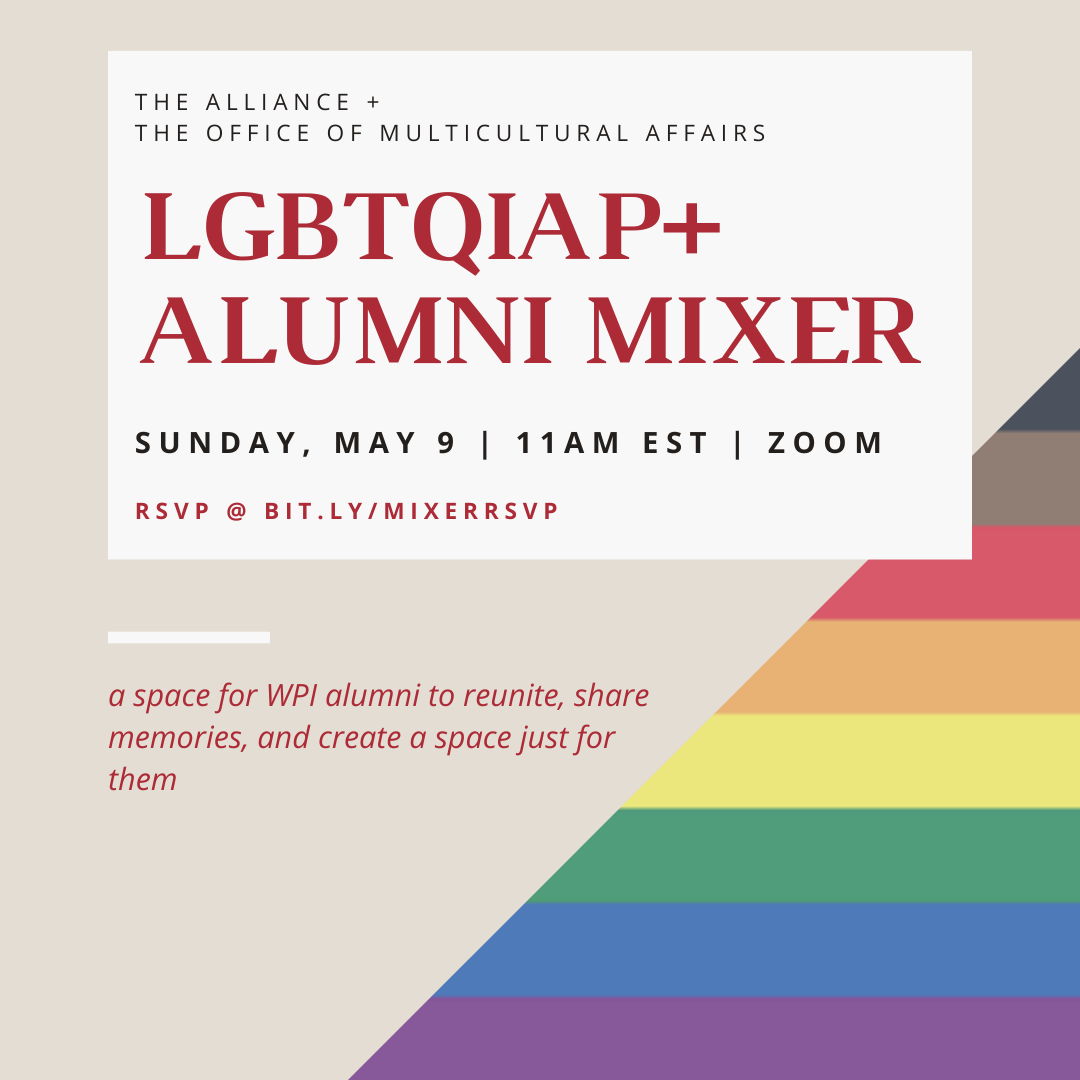 flyer showing the day, time, and RSVP link for the LGBTQIAP+ Alumni Mixer