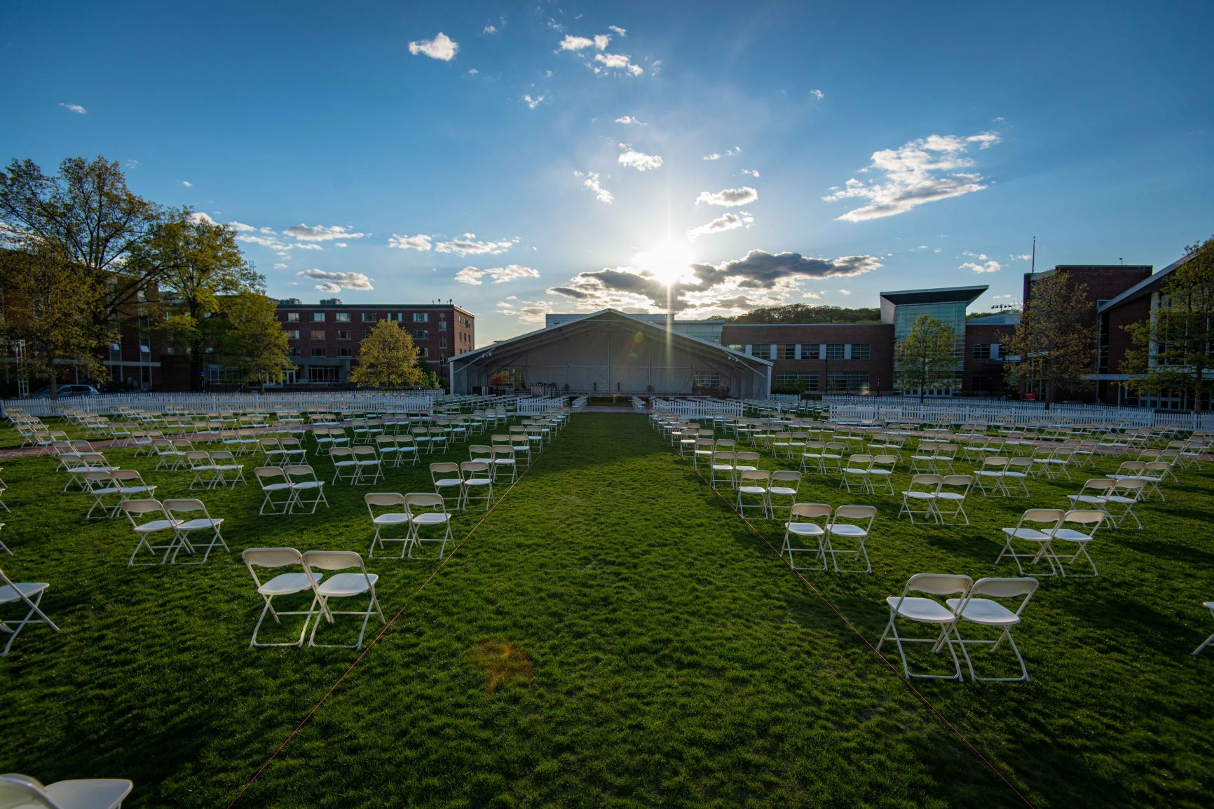 Tent and chairs on the Quad