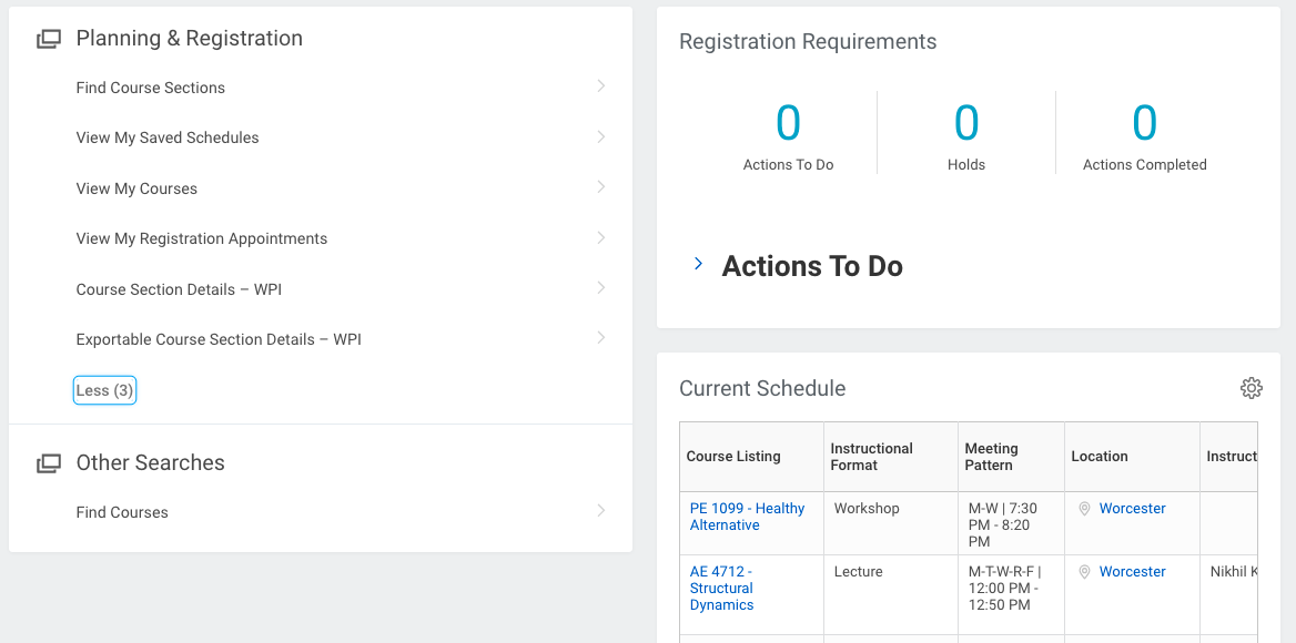 Screen shot of Workday Student