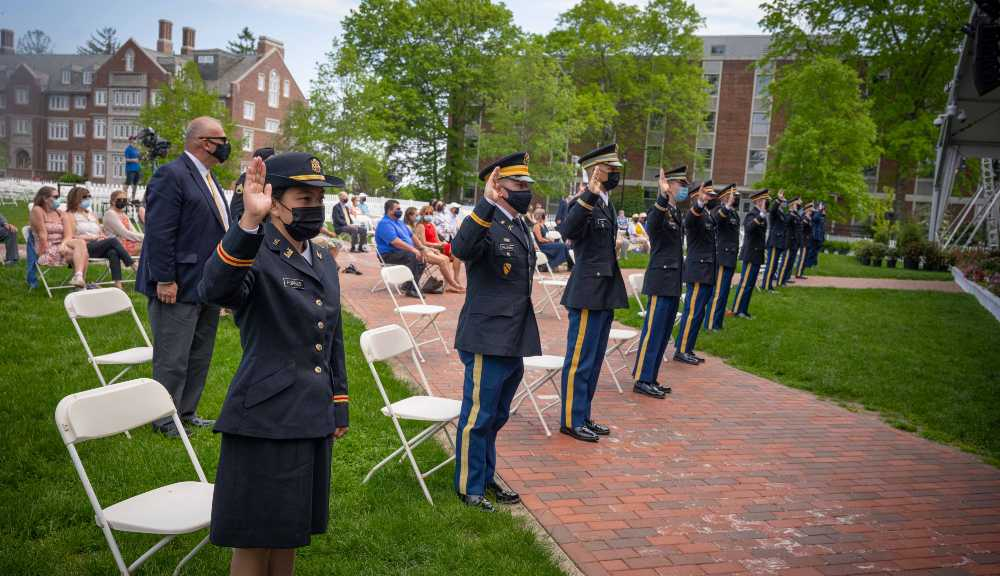 ROTC cadets prepare for their commissioning ceremony on the Quad.