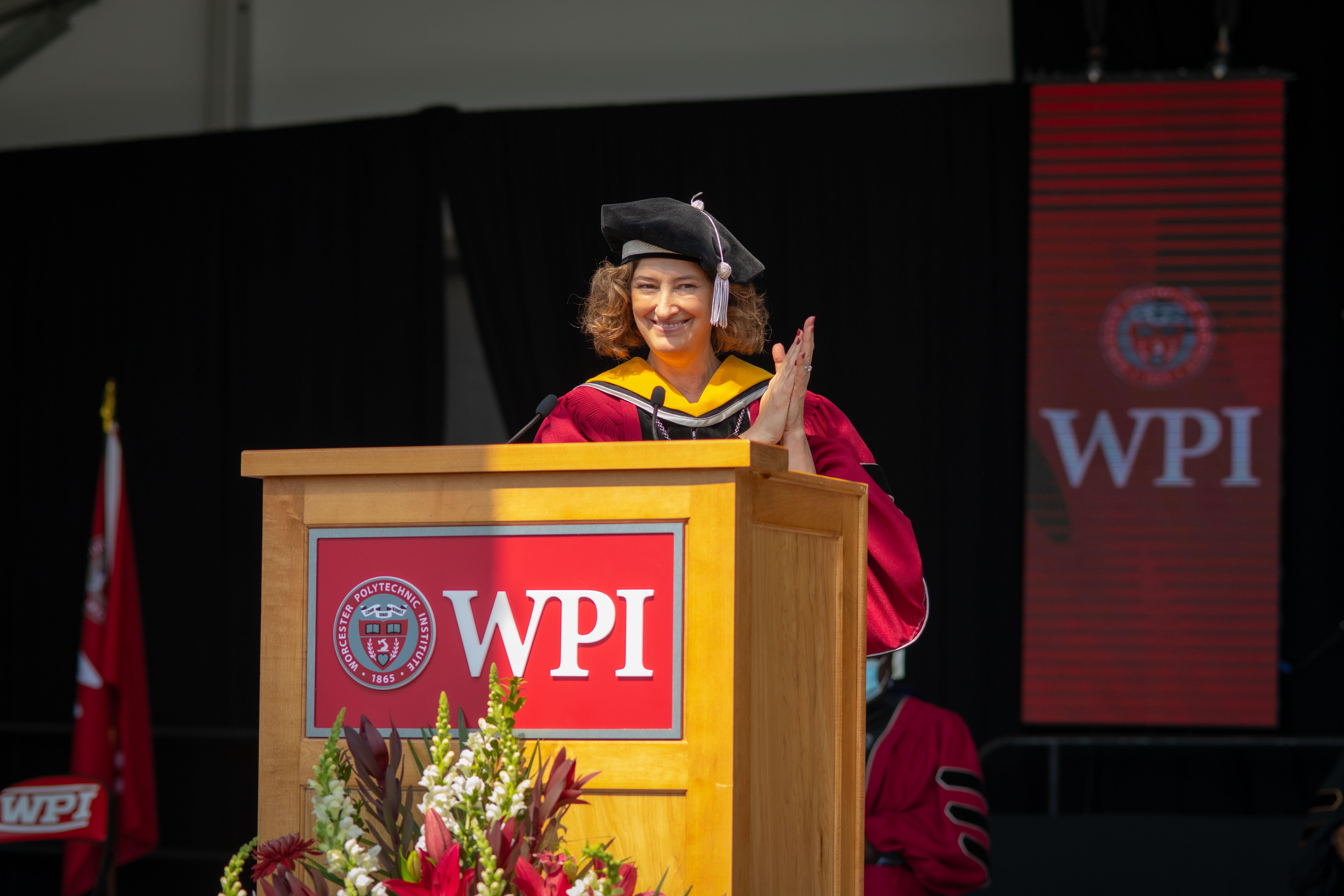 President Laurie Leshin at commencement