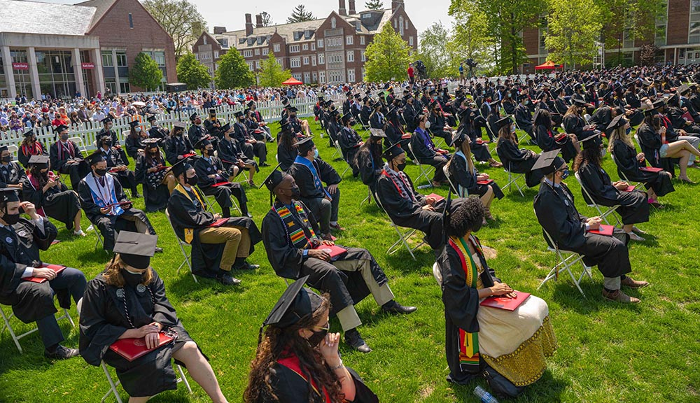 Students at WPI's 2021 Commencement