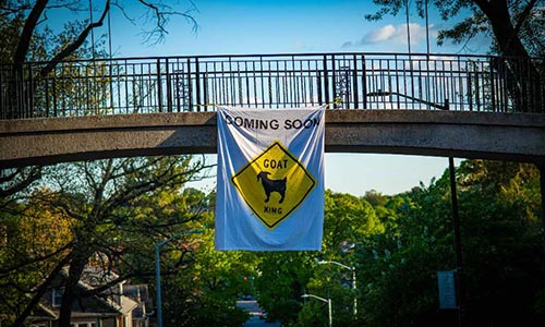 Goats Crossing sign on Early Bridge on WPI campus