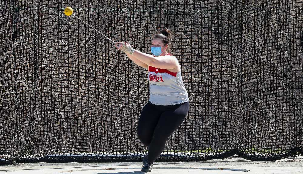 Skylar Barthelmes competes in the hammer throw event as part of the WPI Track & Field team.