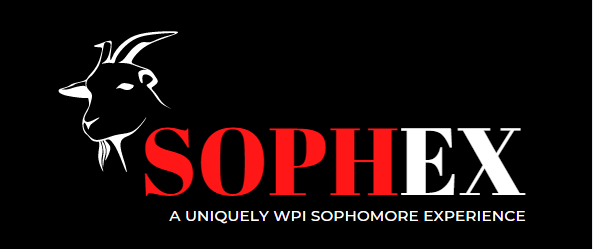 """A photo of the SophEx logo, a goat silhouette with """"SophEx: A Uniquely WPI Sophomore Experience"""" written in white and red type against a black background."""