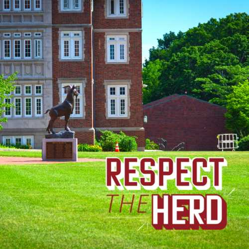 """A photo of Riley Hall and the Gompei statue with """"Respect the Herd"""" written in red and white."""