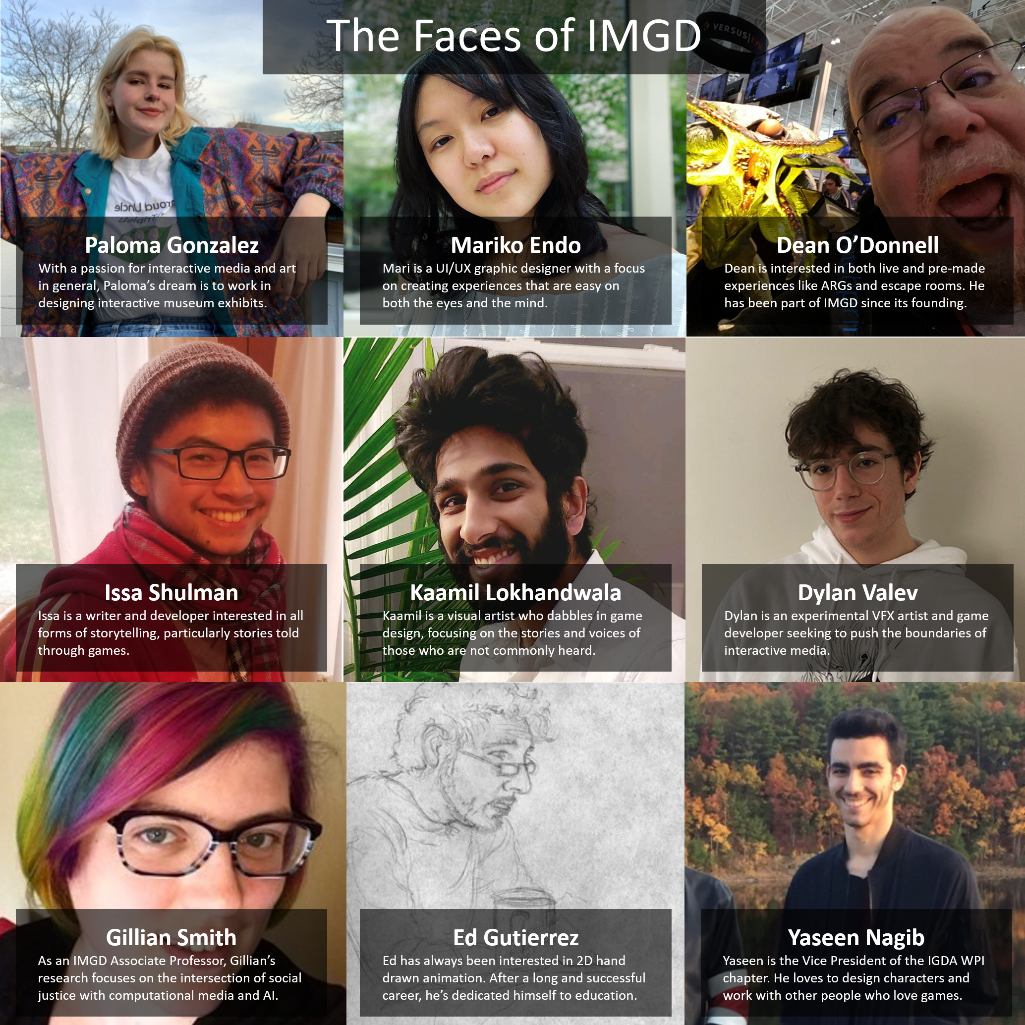 The Face of IMGD: a collage of IMGD students and faculty