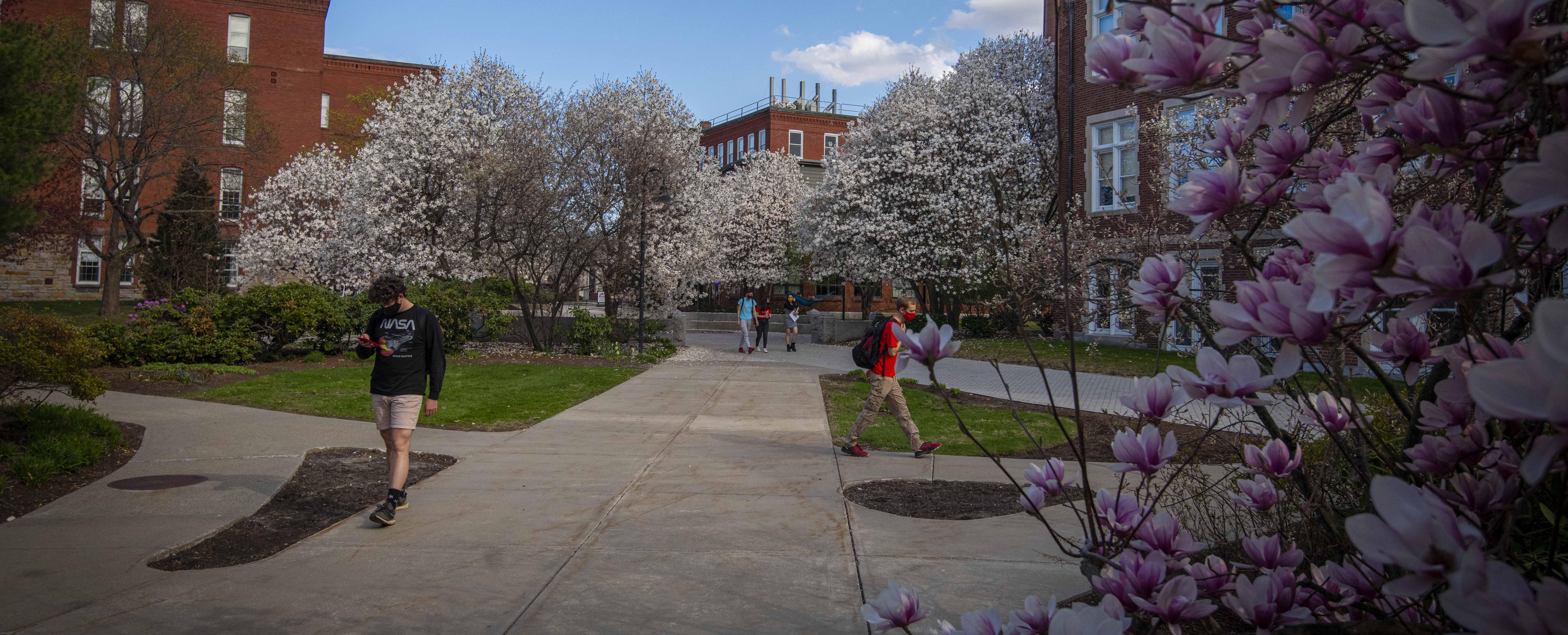 WPI students walking around campus