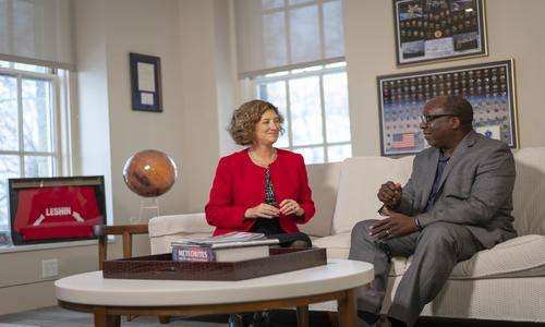 President Laurie Leshin with Provost Wole Soboyejo alt