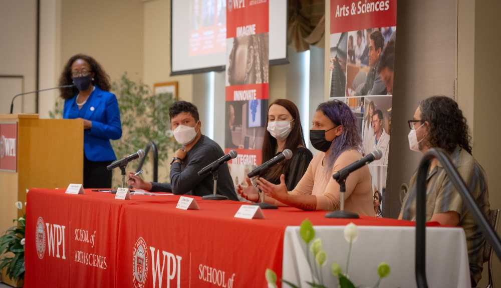 Jean King listens in as panelists discuss topics related to arts and sciences during WPI's Arts & Sciences Week.