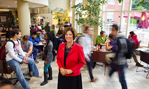 Laurie Leshin in the Campus Center at WPI