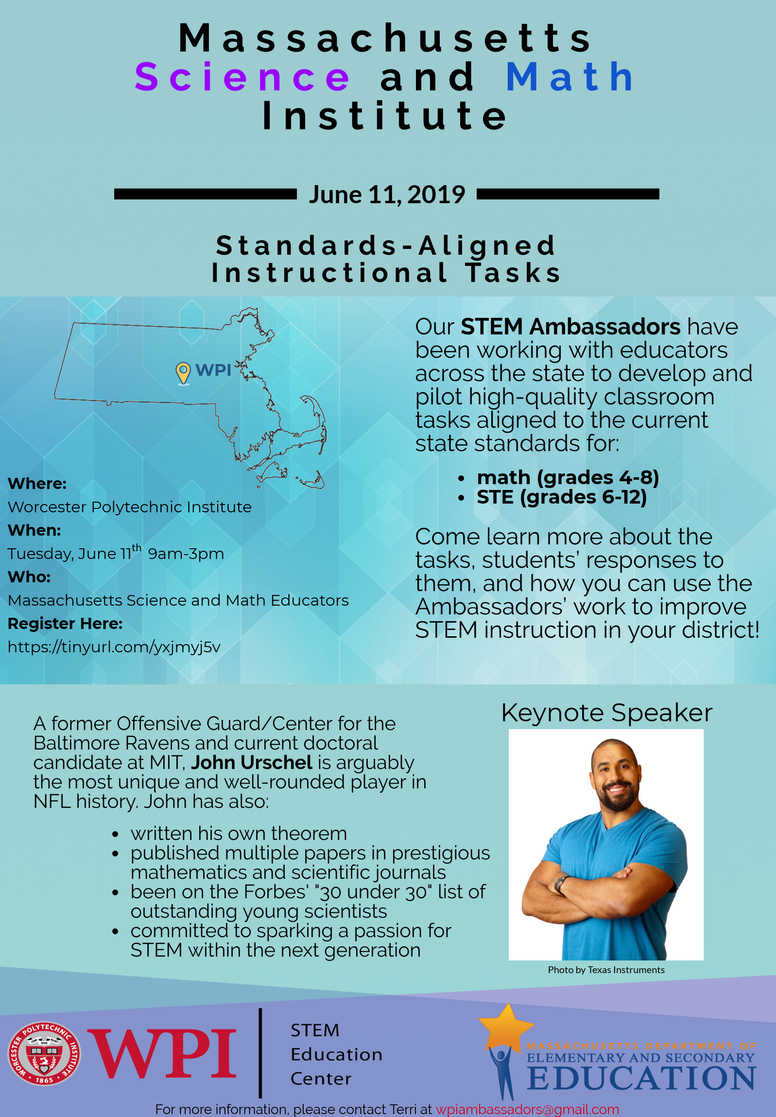 STEM Institute flyer includes information about location, date, and keynote speaker.