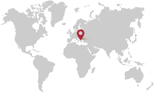 Map of the world with pinpoint on Albania