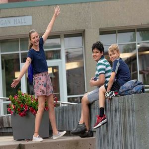Kids in Frontiers Program playing on campus