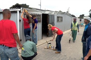 WPI students work on a preschool for the children of Flamingo Crescent settlement in Cape Town.