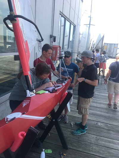 WPI team works on the sailboat