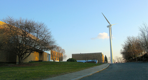 The wind turbine at Holy Name Junior Senior High School in Worcester.