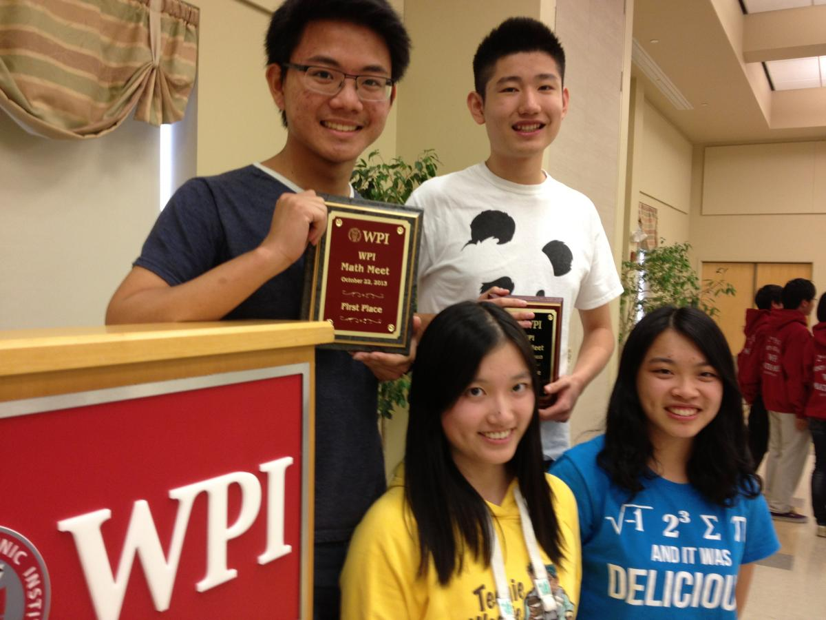 The Hotchkiss School of Lakeville, Conn., took first place in the 26th Annual Math Meet at WPI on Tuesday, Oct. 22. Pictured are (back row, from left) Onza Janyaprasert and Tony Zhang; and front row (from left) Emma Yuwei Xu, and Wendy Yu Xuan Hong.