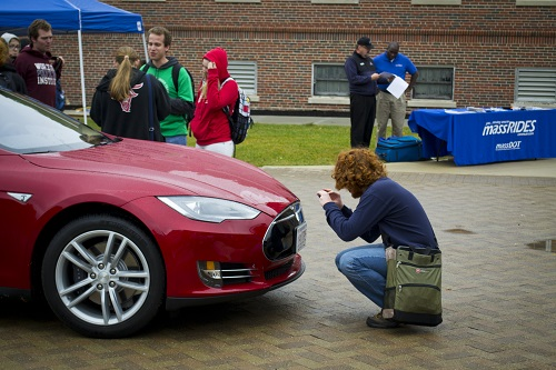 President Leshin's Tesla drew a lot of interest in the 2014 show, and will be back this year.