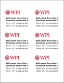 WPI name tag template sheet with 6 tags