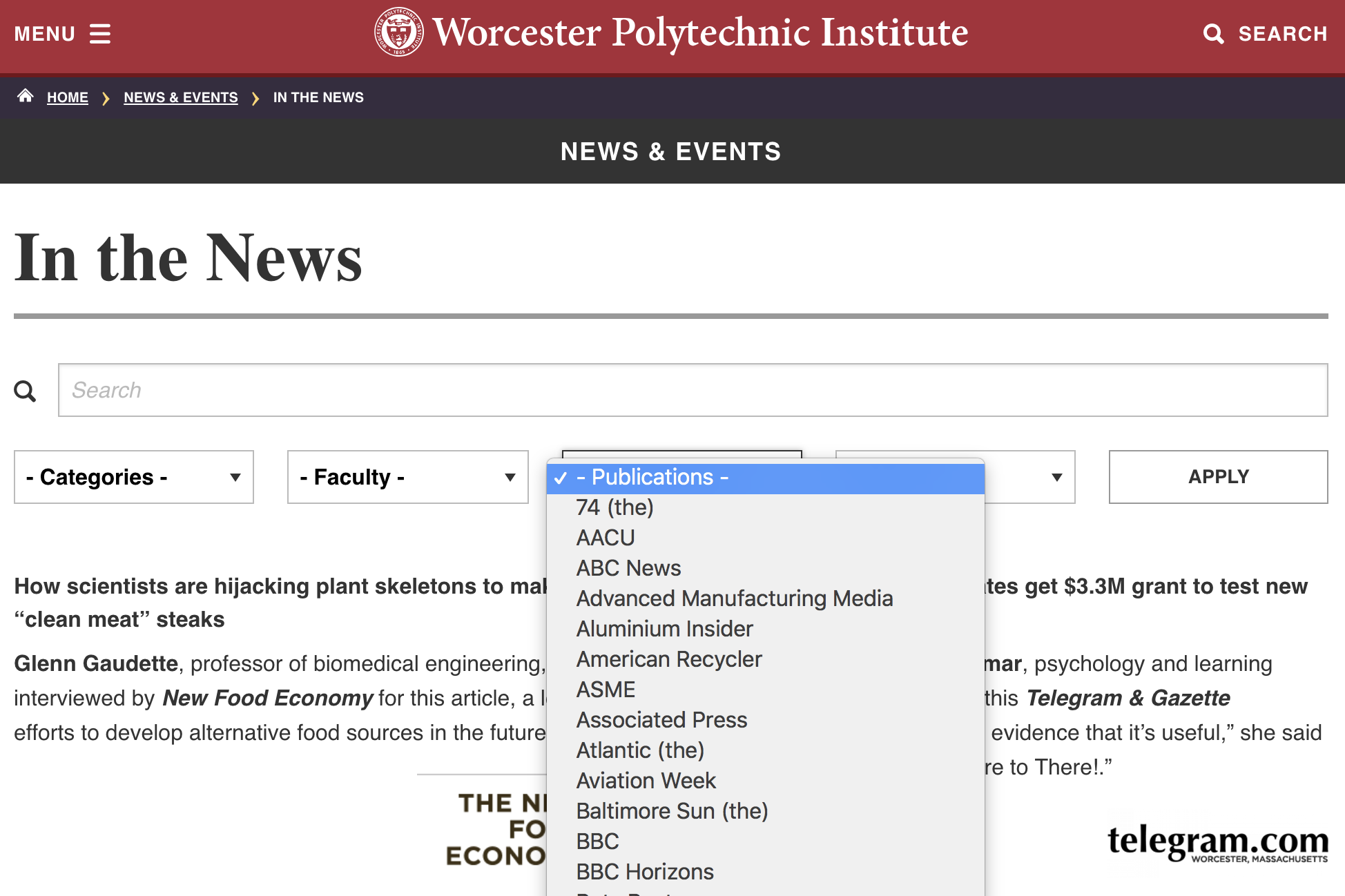 Screenshot of the In the News page with new Publications Filter