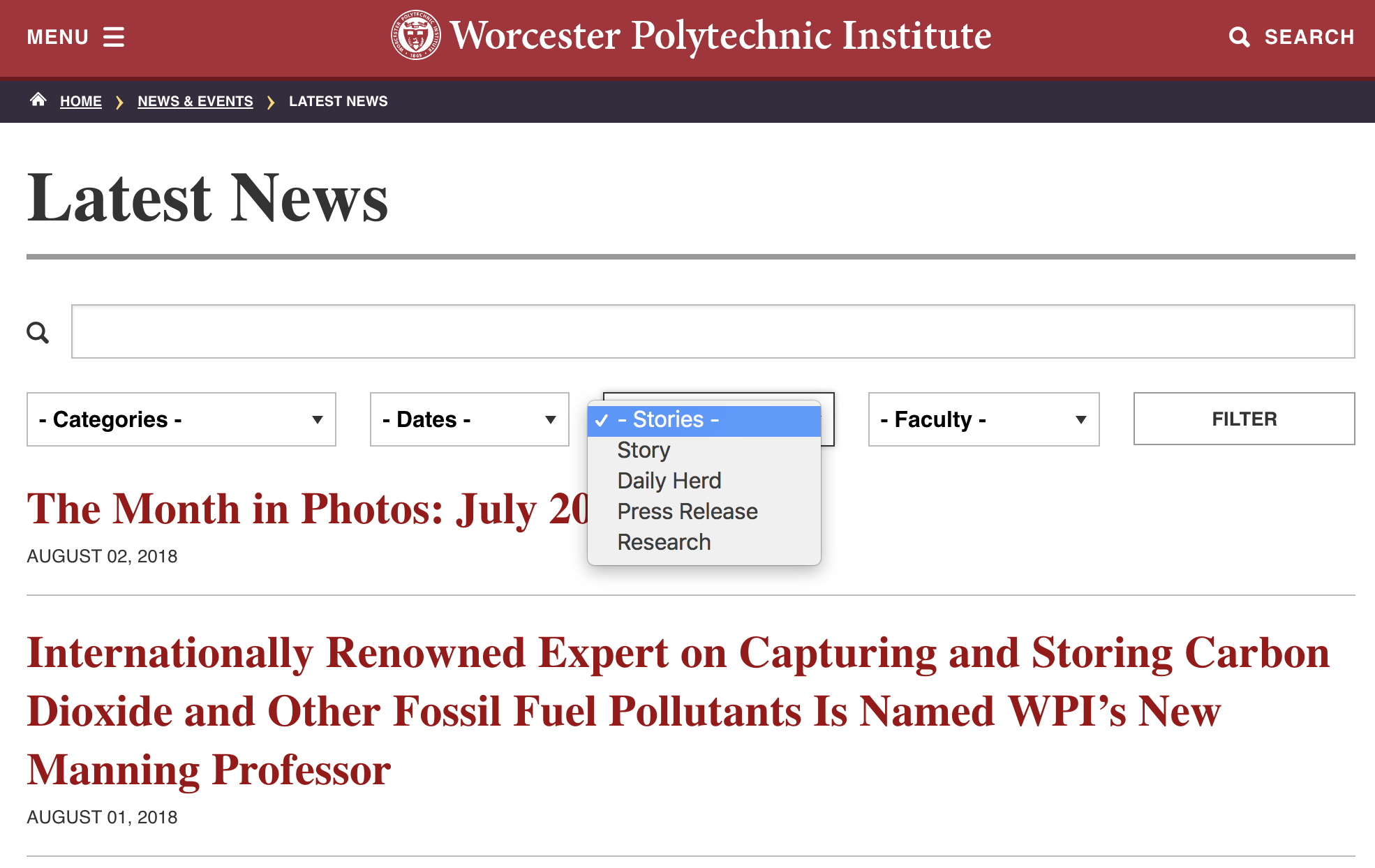Screenshot of the Latest News page with new Stories & Faculty Filters