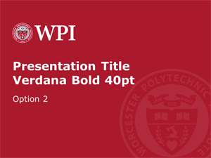 Screenshot of powerpoint template, first slide in red