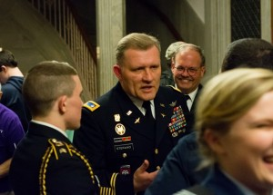 Army Lt. Col. Ciro C. Stefano, Bay State Battalion Commander, and retired Brig. Gen. Paul Smith (center) chat with cadets following the awards ceremony.