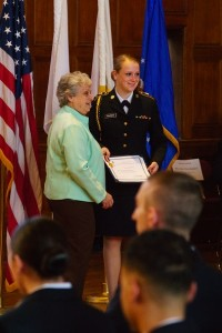 Cadet Jessica Gautieri is awarded the Daughters of Founders and Patriots of America Award.
