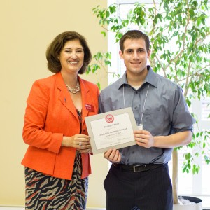 WPI President Laurie Leshin congratulates Richard O'Brien, a mathematical sciences and management major, was named Outstanding Member of the Class of 2017.