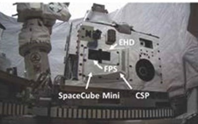 The WPI experiment (labeled EHD) was contained in this package flown to the ISS on a SpaceX rocket in February 2017