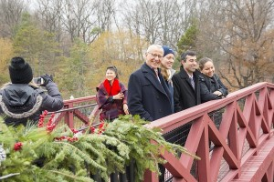 Prof. Tahar El-Korchi, left, with MQP student Alexandra Jaeger; Prof. Nima Rahbar and MQP student Nicole Martucci on the newly-dedicated bridge.