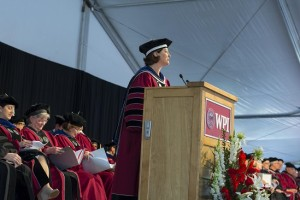 'Use your degree to make us proud,' President Laurie Leshin told graduates in her charge to the class.
