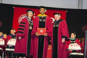 Former astronaut and Commencement speaker Dr. Bernard Harris posed with President Leshin and trustees chairman Phil Ryan as he was conferred an honorary Doctor of Science degree.