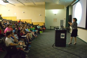 WPI President Laurie Leshin talks to middle school students in the ExxonMobil Bernard Harris Summer Science Camp about the Mars Curiosity rover and its role in exploring the planet.