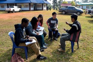 From left, WPI students and their Thai counterparts, Obi Ofokansi, Chalita, Caitlin Swalec and Napat, are interviewed by a member of the Mae La Oop River Basin Network.