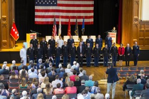 Retired Army Gen. David McKiernan commissioned 18 ROTC cadets as military officers.
