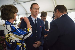 Air Force 2nd Lt. Daniel Long has his gold bars pinned on.