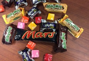 Today's giveawy of space-themed candy starts at 11 a.m., and lasts until all the treats have been given out.