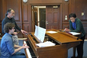 Andrew Strout, at piano, rehearses with Professor Rich Falco and jazz singer Lydia Fortune.