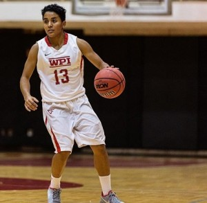 Yasmeen Luna started as point guard in her senior year, winning the NEWMAC conference crown with her teammates.