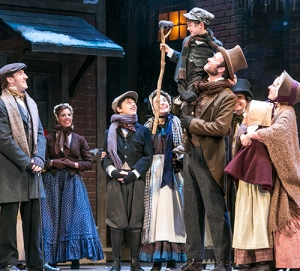 A performance of A Christmas Carol at Worcester's Hanover Theater for the Performing Arts