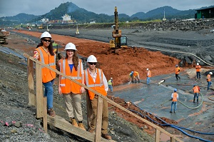 Students work at the Panama Canal in Panama City, site of one of newest of WPI's 46 global project centers (Photo Courtesy of ACP)