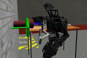 The simulated Atlas robot tackles a difficult task in the Virtual Robotics Challenge