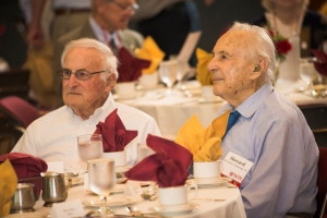 Freeman, right, at the WPI Alden Society lunch in May 2015. He was a regular at campus alumni events.