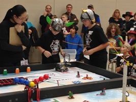 Student teams at the FLL Qualifier earlier this month at WPI.