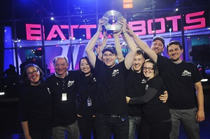 Paul Ventimiglia (holding trophy) and Team Bite Force celebrate their BattleBots victory