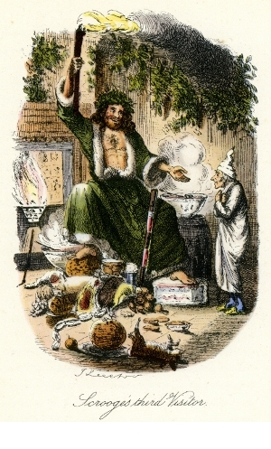 A John Leech illustration with the Ghost of Christmas Present attired in the correct 'deep green' robe